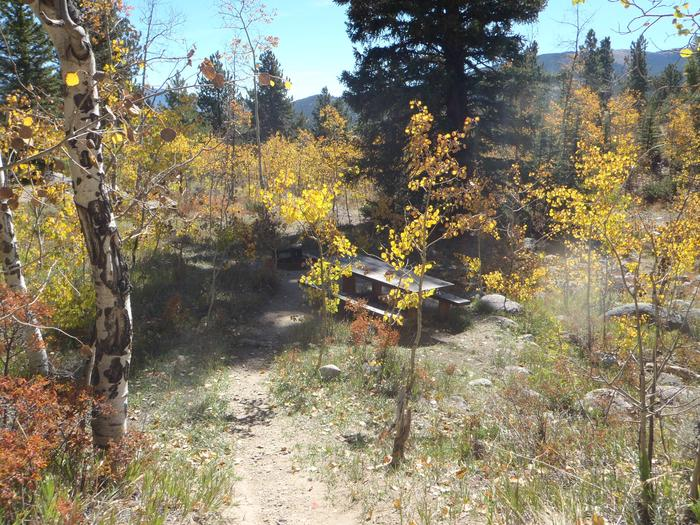 Lakeview Campground, site D2 picnic table view
