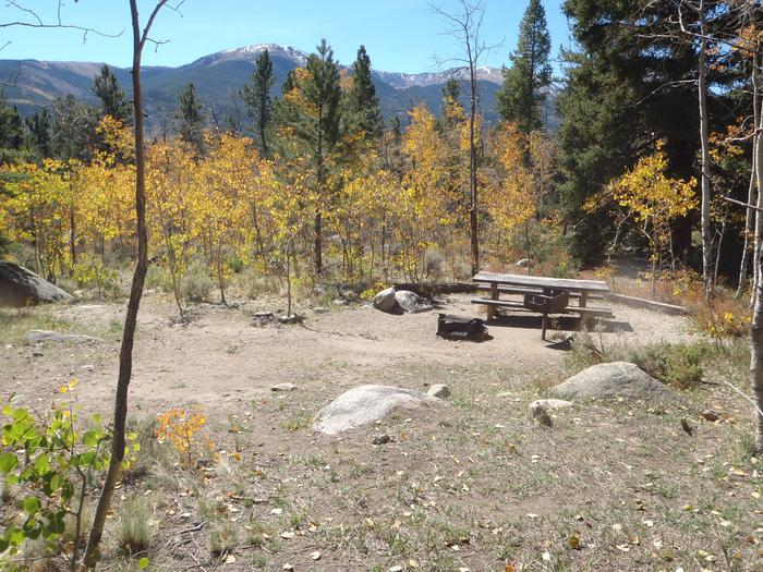 Lakeview Campground, site D4 picnic table and fire ring 2