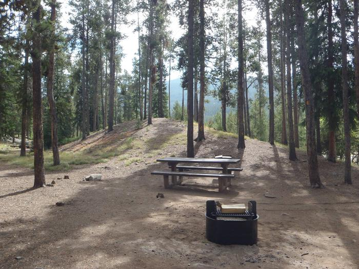 May Queen Campground, site 14 picnic table and fire ring 3