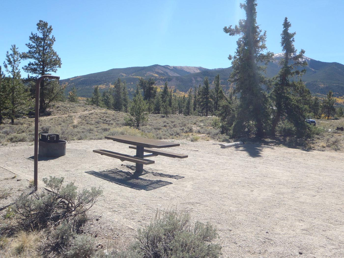 White Star Campground, site 21 picnic table and fire ring 2