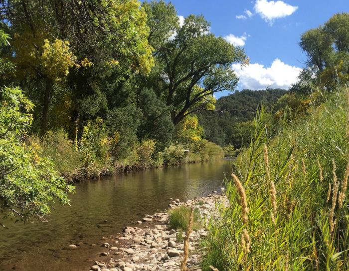 The Pecos River near the Beat 1 and Beat 2 boundary.Pecos National Historical Park - Beat 1 of the Pecos River.