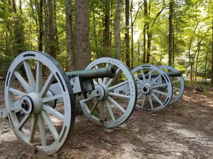 6 pounder cannonsAnthony Singleton used two 6 pounder cannons like these reproductions at the American Third Line, the final battle point