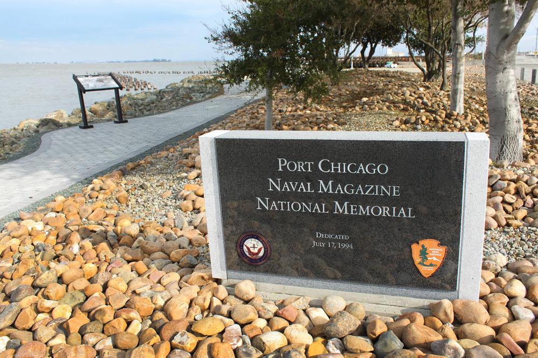 Port Chicago Naval Magazine National MemorialPark sign at the memorial.
