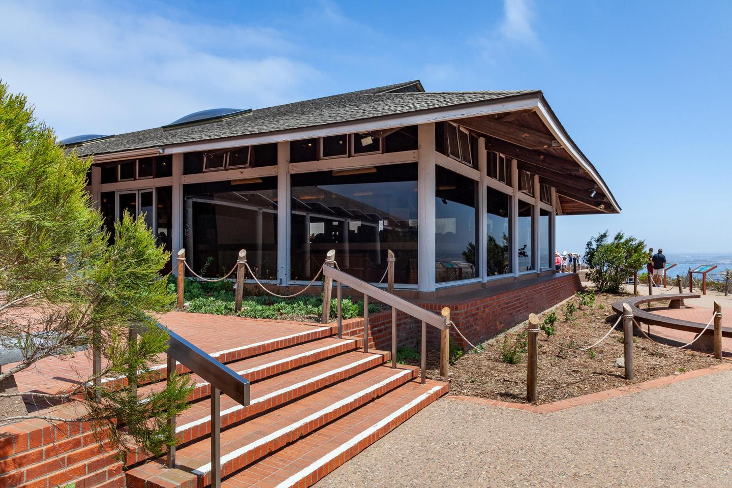 The View Building from the southThis is the walkway to the scenic overlook of San Diego Bay. The View Building is shown with its large floor to ceiling windows providing a spectacular view of San Diego Bay and the city.