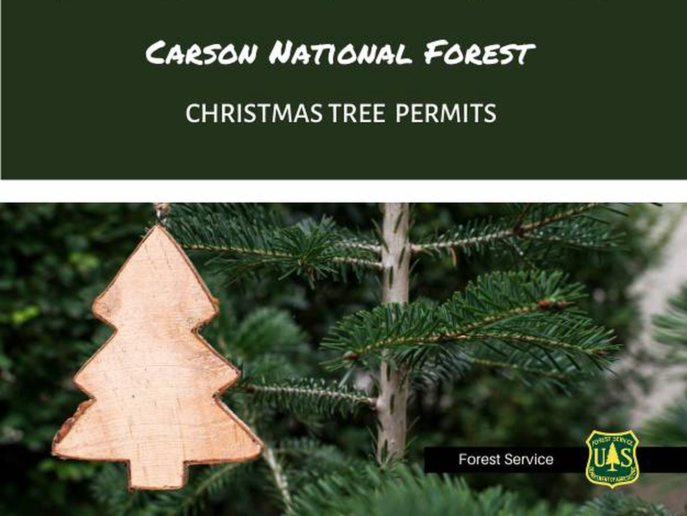 Alt Text: Carson National Forest – Christmas Tree Permit. Wooden Christmas tree ornament hanging on a Christmas tree. USDA Forest Service shield. Caption: Cut down your own Christmas tree and bring home a story! Learn more on how to get  your Christmas Tree Permit and important steps to know before you go by visiting www.recreation.gov/tree-permits.