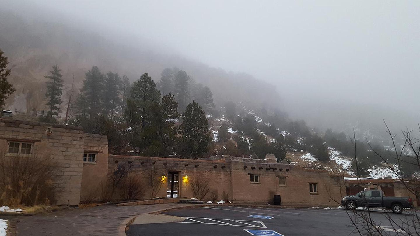 CCC buildings in the fogThe visitor center is part of a larger complex all built by the CCC in the 1930s.