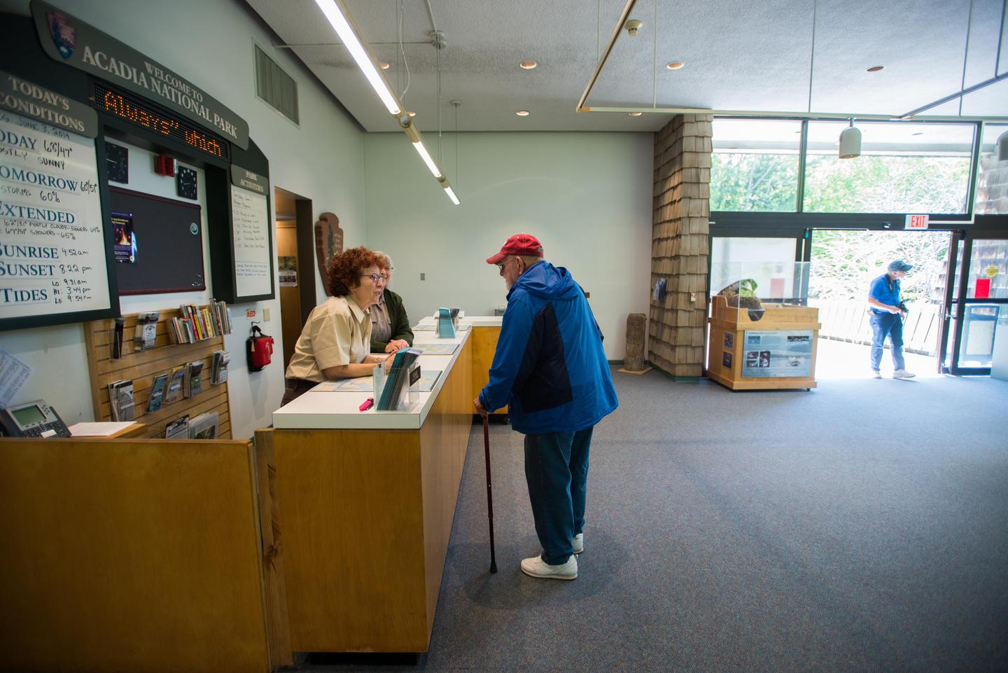 Hulls Cove Visitor Center interiorPark entrance passes can be purchased at Hulls Cove Visitor Center