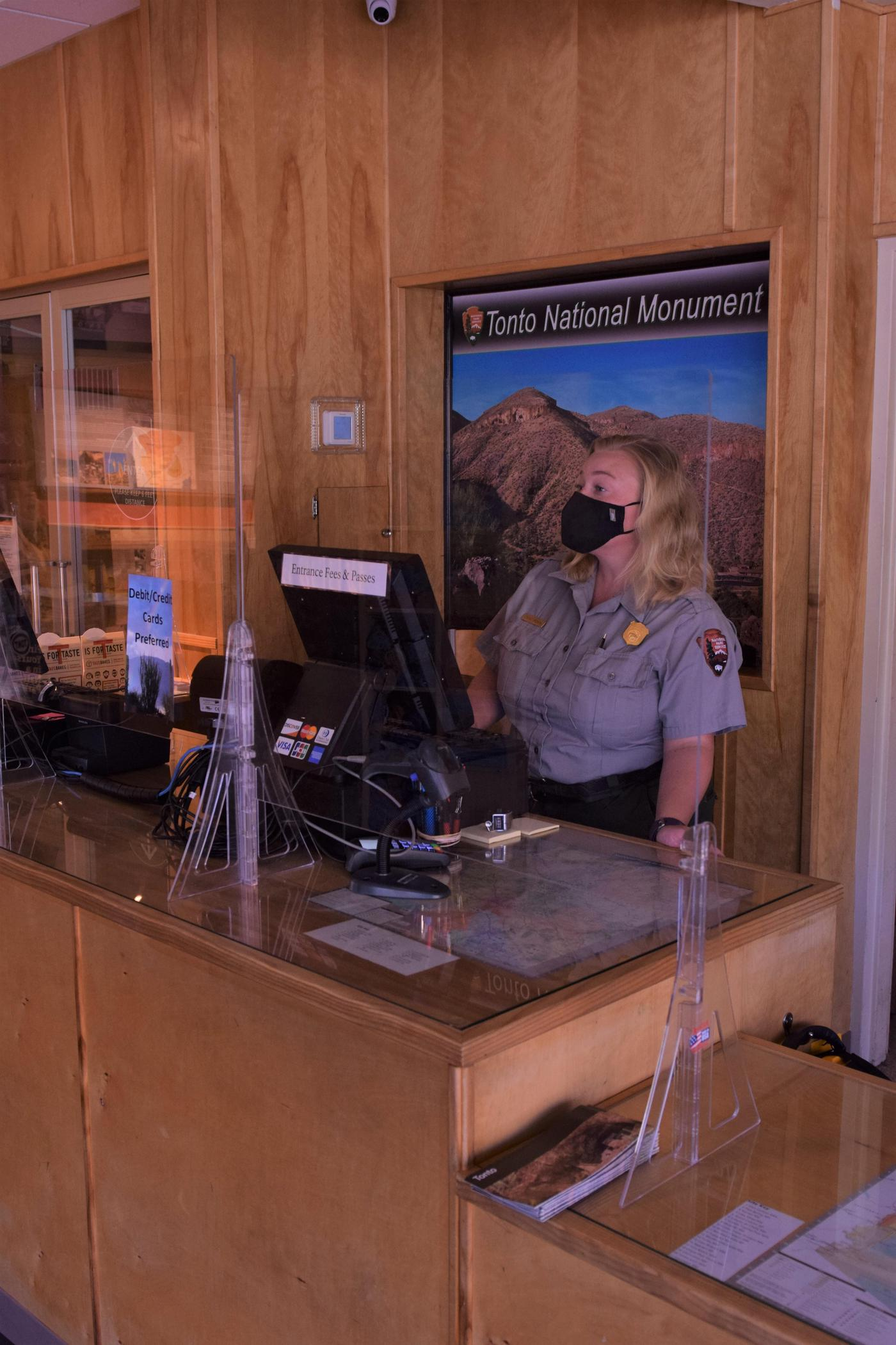 Ranger at DeskPark Staff are available to answer your questions and check you in for the start of your hike at the Visitor Center.