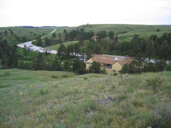 Visitor Center from Prairie Vista TrailVisitors can look down at the visitor center from the nearby Prairie Vista Trail.