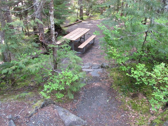 Picnic Table, Fire ring, tent area, stairs