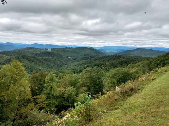 View from Three Knobs OverlookThree Knob Overlook is close to Crabtree Falls campground and is one of many overlooks along the Parkway that offer stunning views even on cloudy days.
