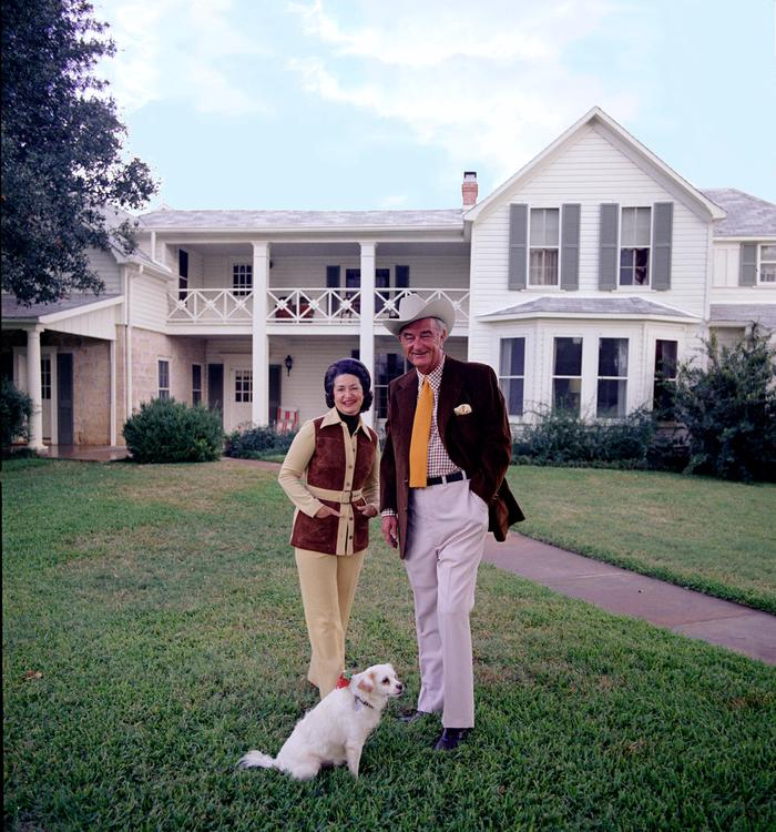 President and Mrs. Johnson with Yuki in front of the Texas White HouseThe Johnsons pose with their dog Yuki in front of the Texas White House. This was one of several photos from which they would choose for their 1972 Christmas card.