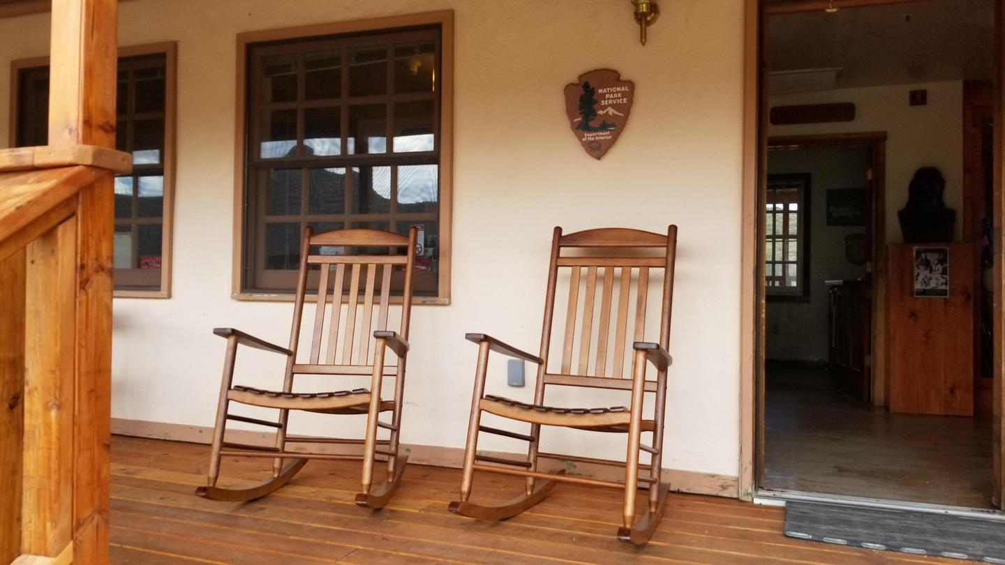 Relax on the PorchTwo rocking chairs on the front porch of the visitor center.