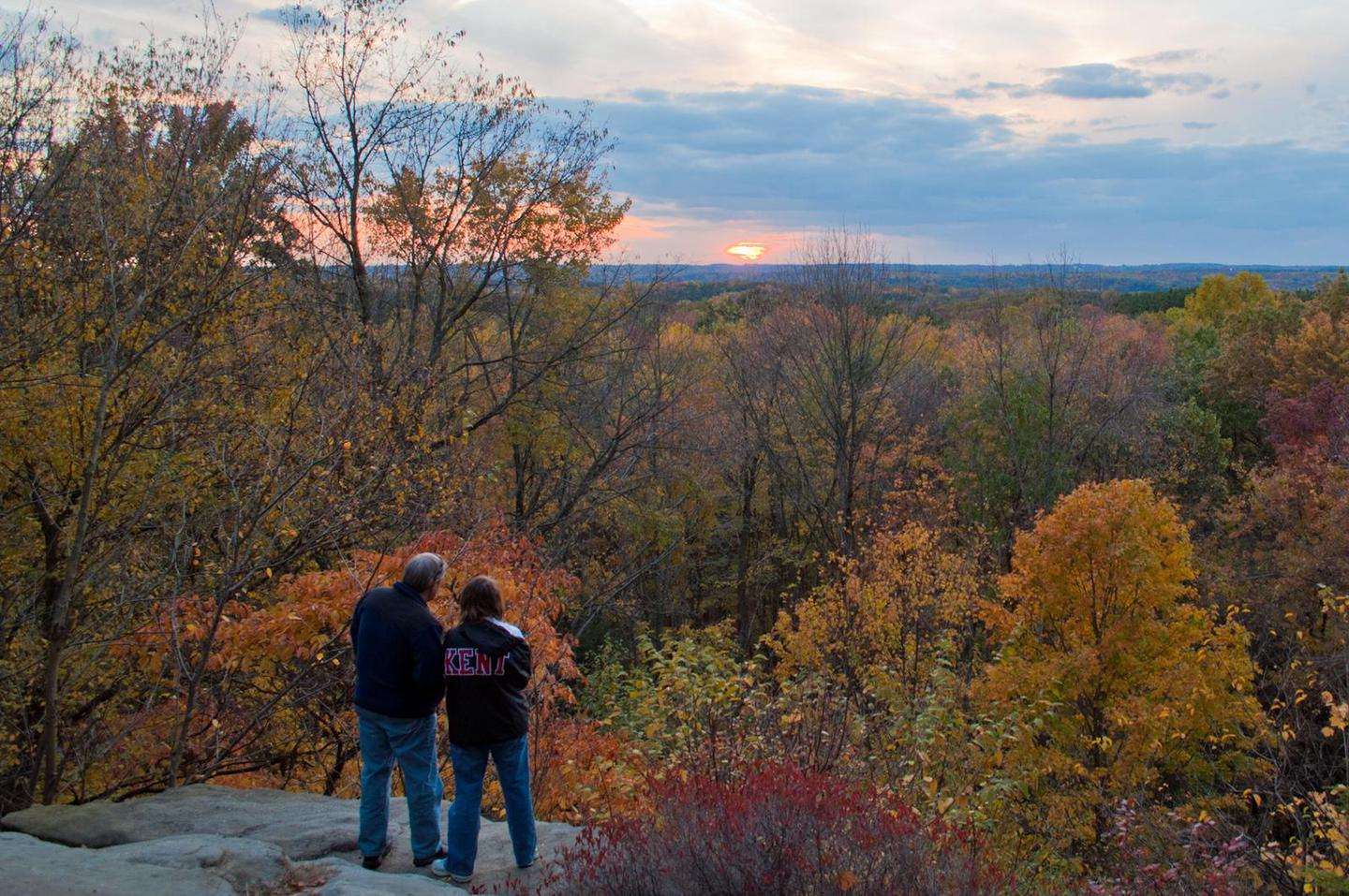 The Ledges Overlook in FallVisitors taking in the view at the Ledges Overlook in fall.
