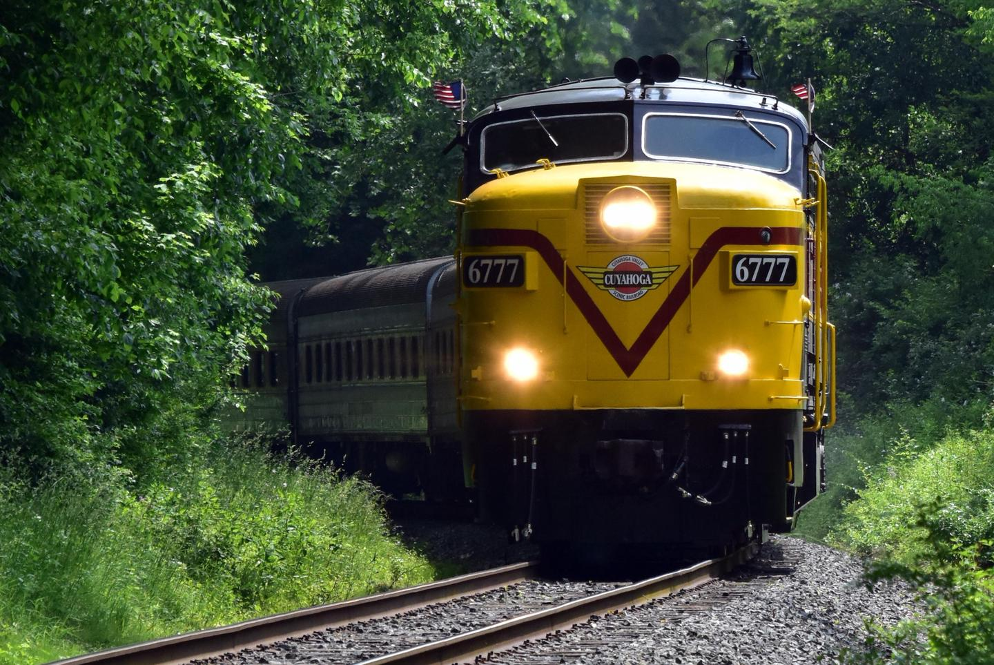 The Cuyahoga Valley Scenic RailroadCVSR Engine 6777 motors down the tracks.