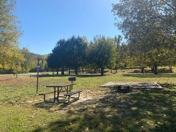 """Tyler Bend Campsite #7-2Site #7, 50"""" back-in, tent pad 15' x 15'. Parking area is wide enough for RV & car to park side by side."""
