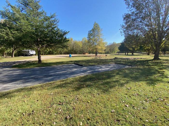 """Tyler Bend Campsite #7-3Site #7, 50"""" back-in, tent pad 15' x 15'. Parking area is wide enough for RV & car to park side by side."""