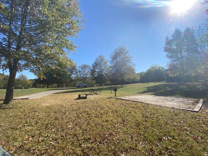 "Tyler Bend Main Loop Site#18-5Site #18, 75"" back-in, tent pad 15' x 15'."