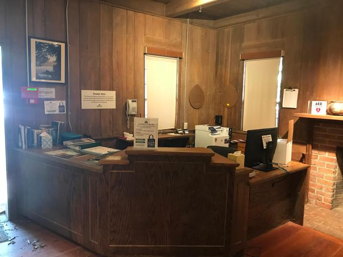 Visitor Information Cabin Information DeskInside the Parkway Information Cabin, looking at the ranger desk where visitors are able to get Parkway information or literature