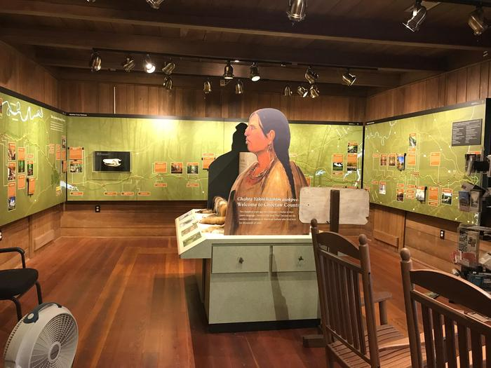 Interior of Parkway Information Cabin, exhibitsInside the Parkway Information Cabin, looking north at the educational exhibits, maps and touch table