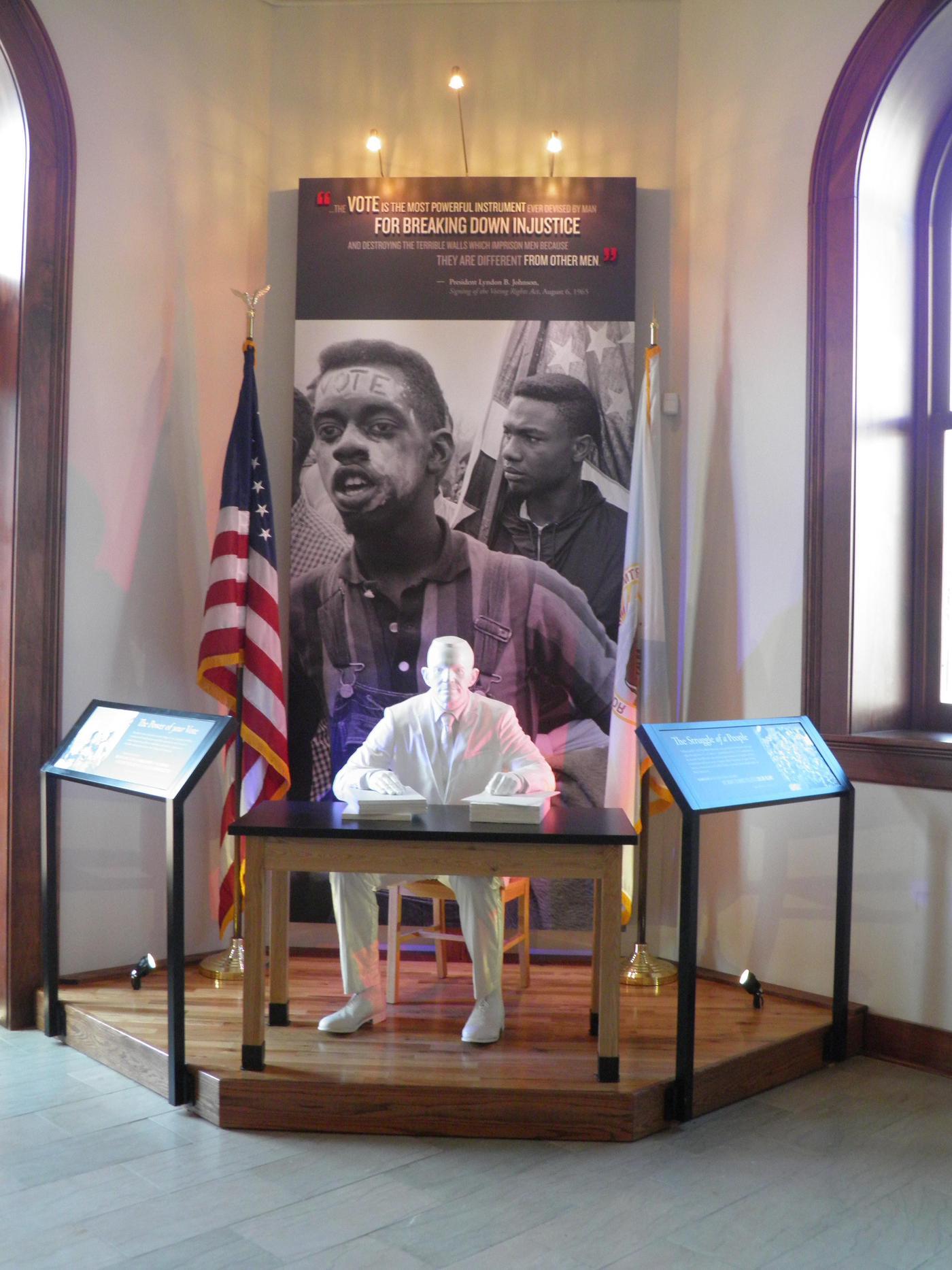 The Registrar ExhibitThe life-size, stark white registrar is hard to ignore as visitors enter the Selma Interpretive Center.