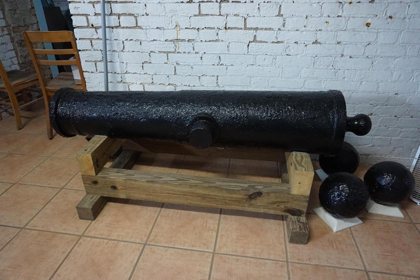 Dry Tortugas Visitor Center Cannon DisplayA preserved cannon on display at the Garden Key Visitor Center
