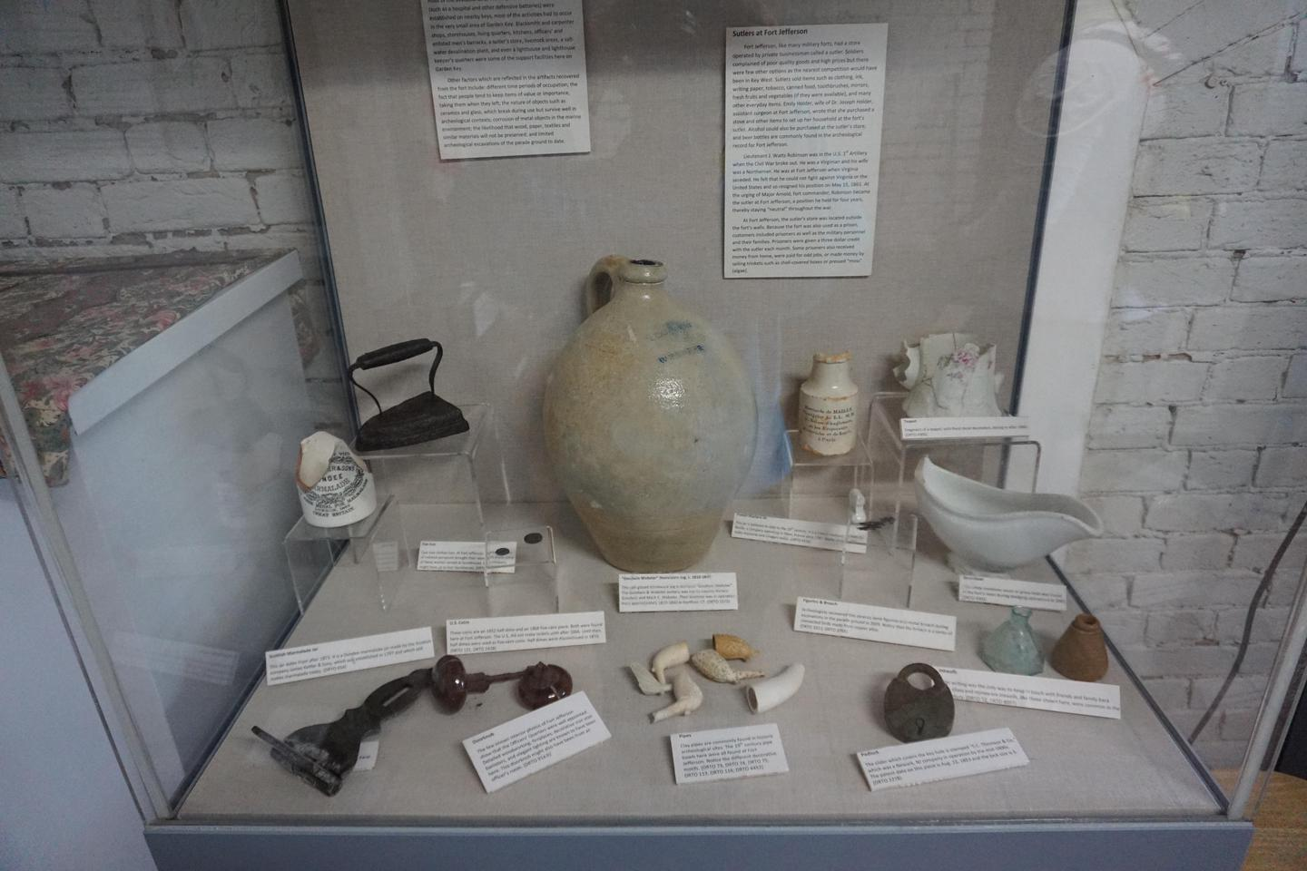Dry Tortugas DisplayA display case shows preserved artifacts in the Garden Key Visitor Center