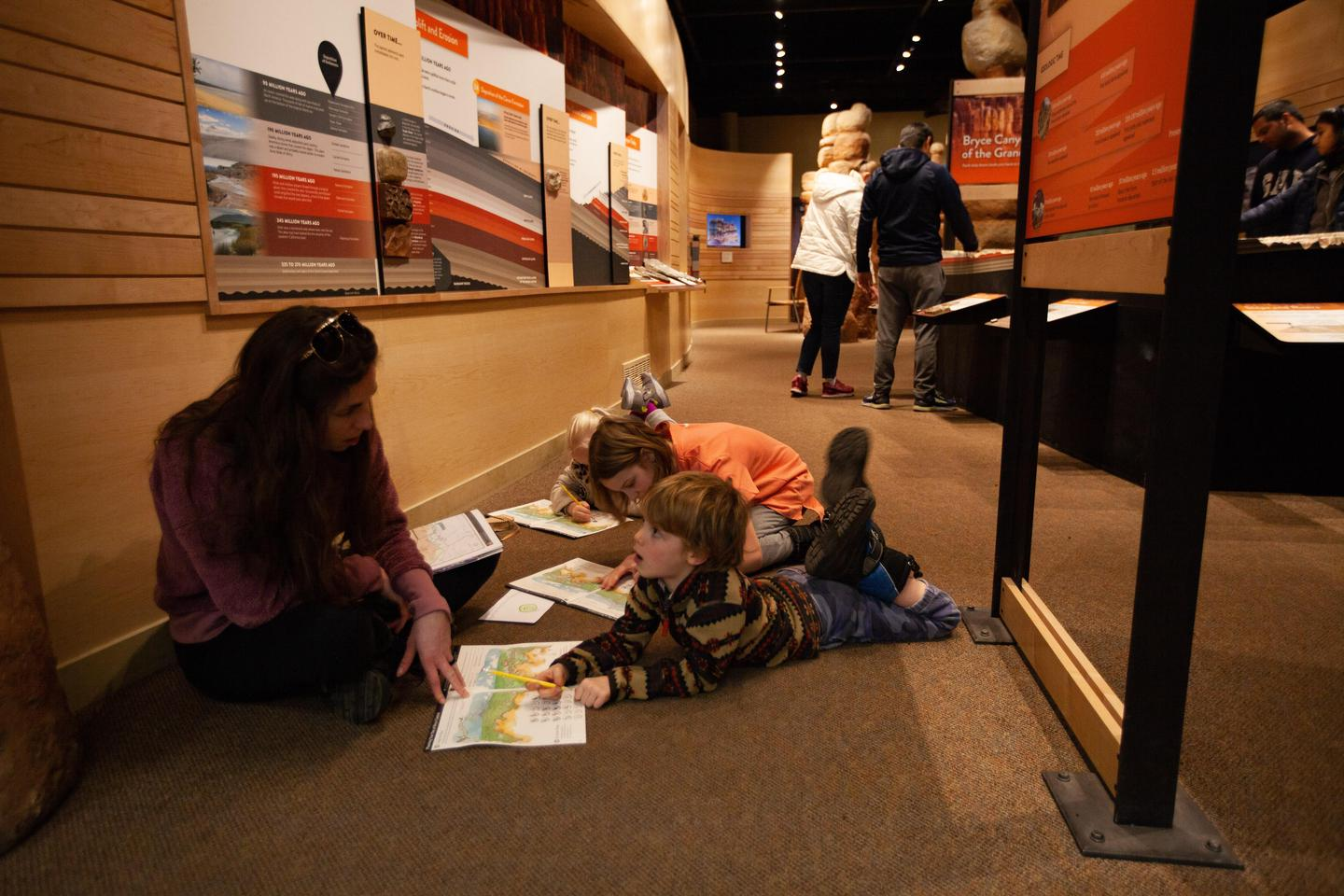 Junior Rangers in Park MuseumThe park museum provides an opportunity to learn about the park and a place to work on Junior Ranger books.