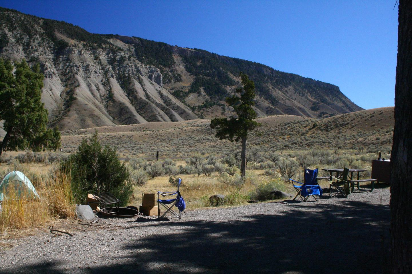 Mammoth Hot Springs Campground Site 32.Mammoth Campsite #32, looking east