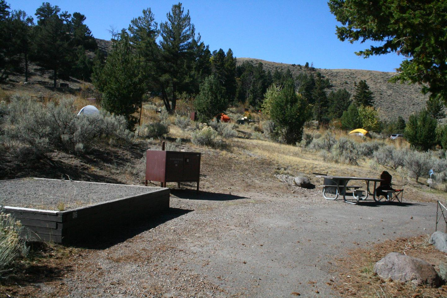 Mammoth Hot Springs Campground Site 36.Mammoth Campsite #36