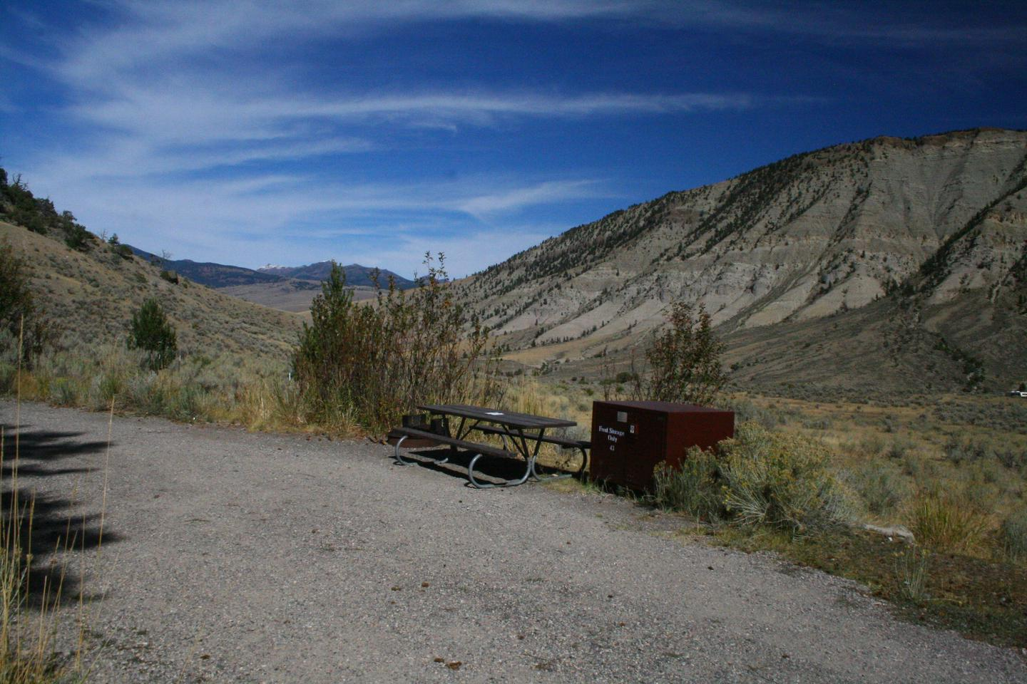 Mammoth Hot Springs Campground Site 43Mammoth Campsite #43, looking north