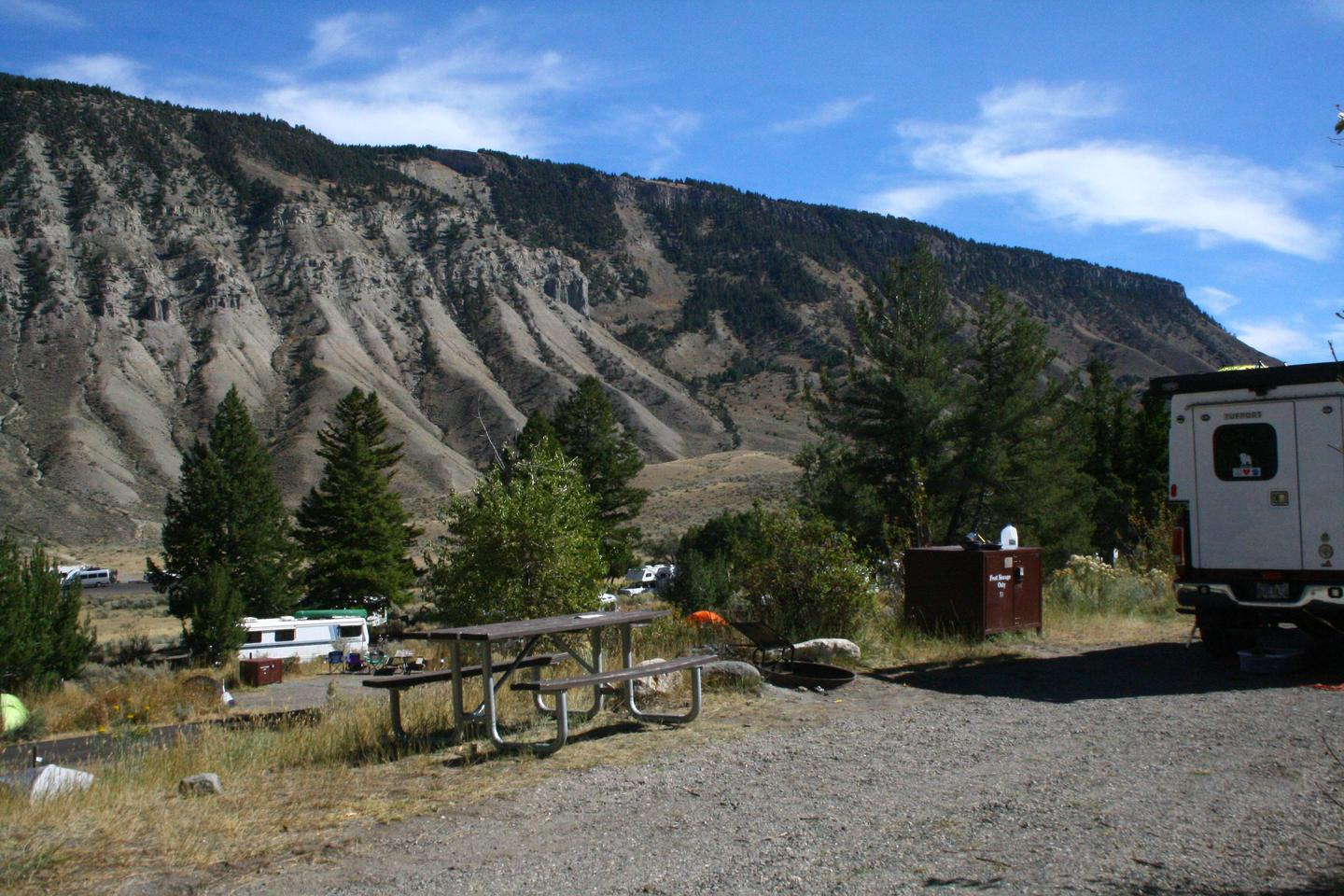 Mammoth Hot Springs Campground Site 51.Mammoth Campsite #51