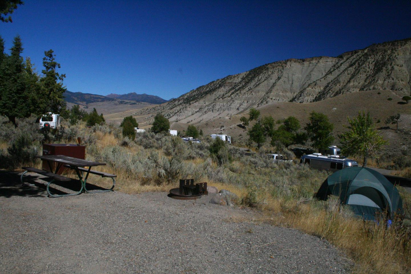 Mammoth Hot Springs Campground Site 61.Mammoth Campsite #61, looking north