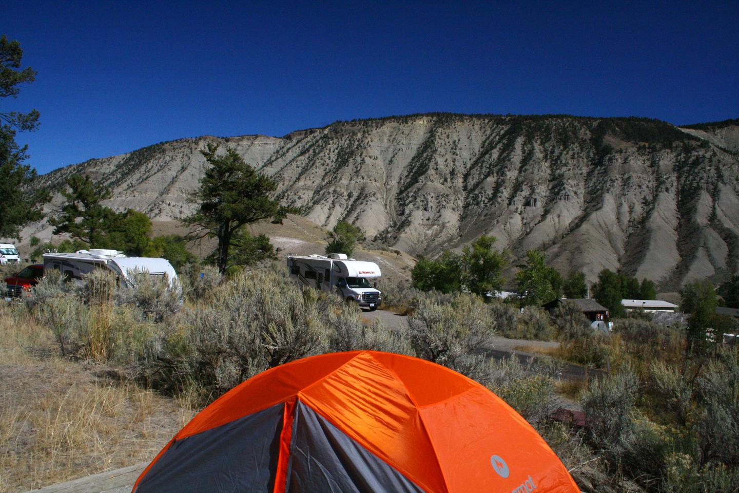 Mammoth Hot Springs Campground Site 68.View Northeast from Mammoth Campsite #68
