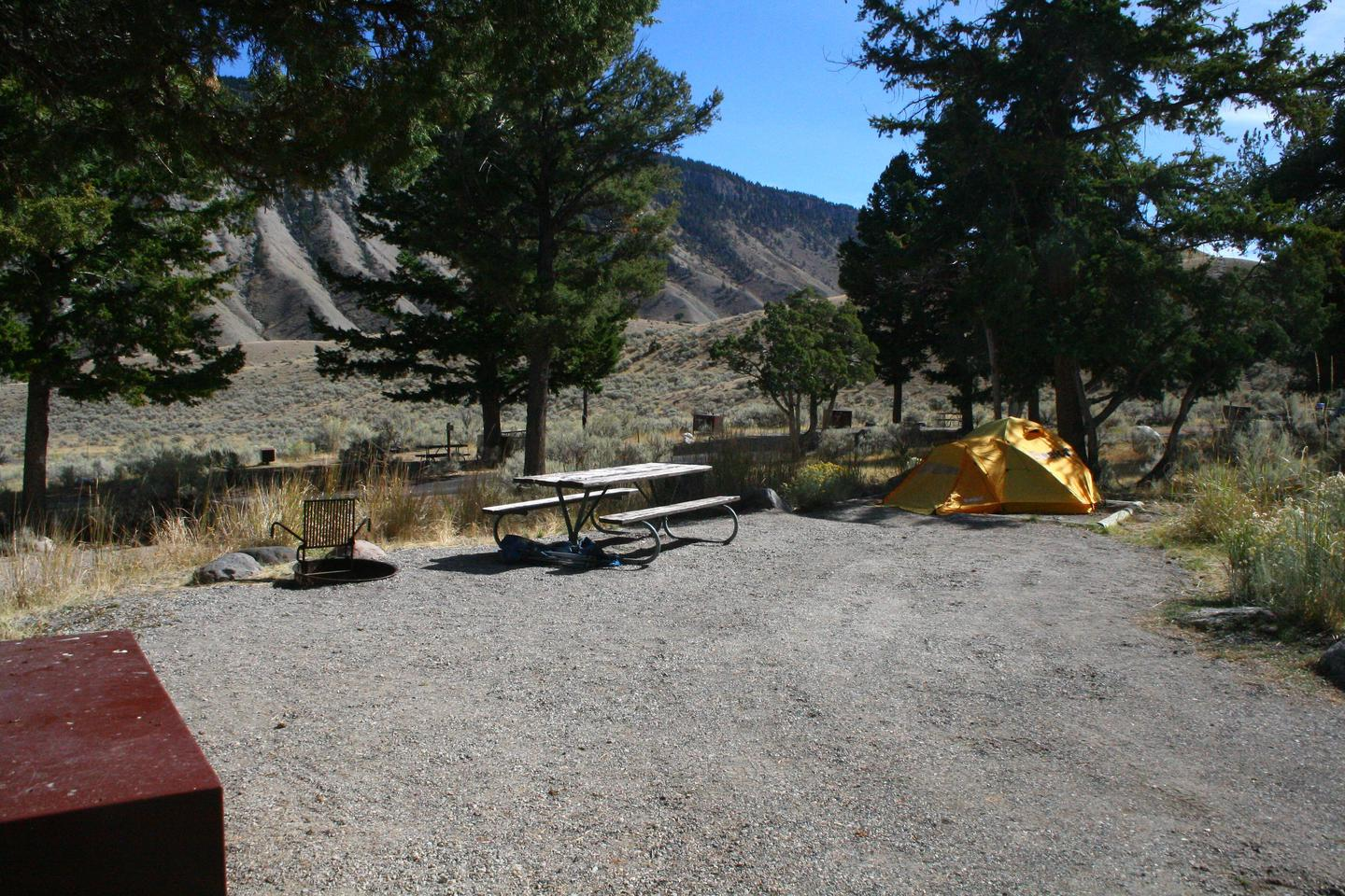 Mammoth Hot Springs Campground Site 69Mammoth Campsite #69, looking north