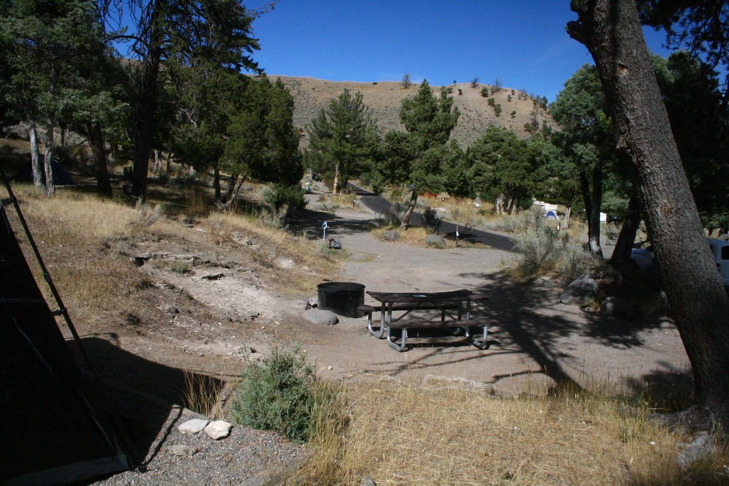 Mammoth Hot Springs Campground Site 70...Mammoth Campsite #70, looking north