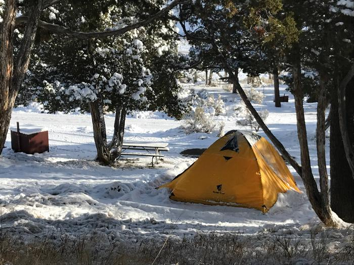 Mammoth Hot Springs Campground Site 72Mammoth Campsite #72 in fall snow