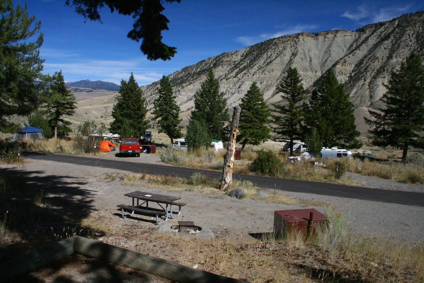 Mammoth Hot Springs Campground Site 76.Mammoth Campsite #76, looking north