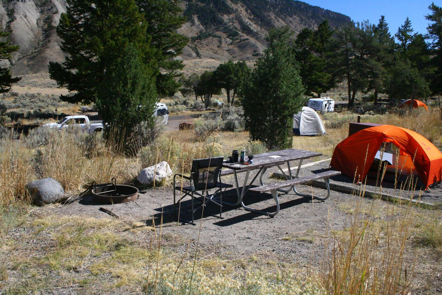 Mammoth Hot Springs Campground Site 77.Mammoth Campsite #77