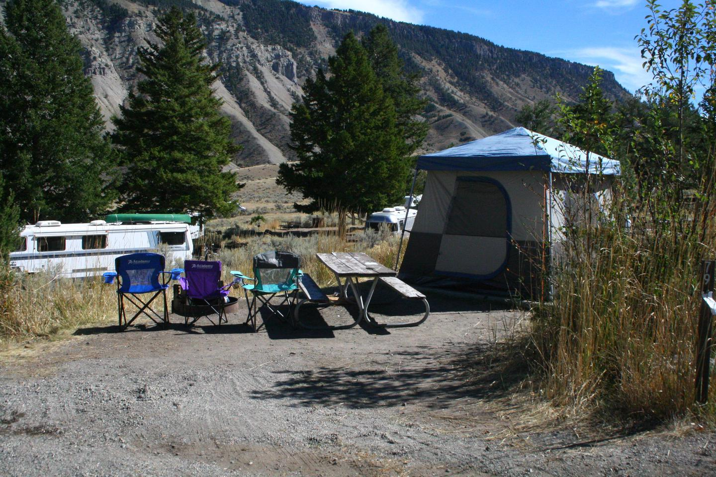 Mammoth Hot Springs Campground Site 79Mammoth Campsite #79, looking east