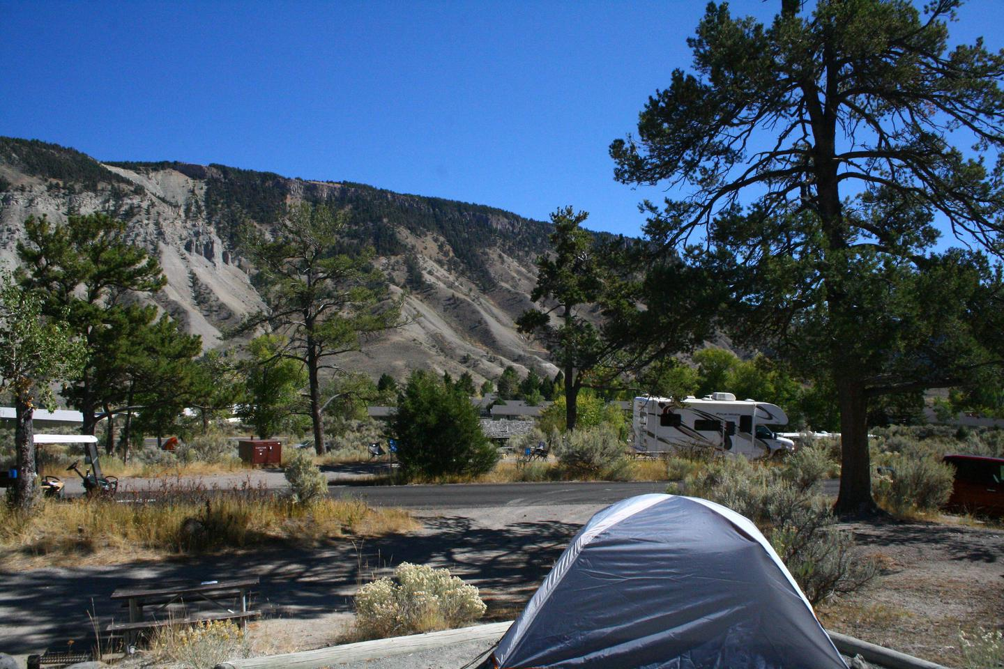 Mammoth Hot Springs Campground Site 82 viewMammpth Campsite #82 view looking east