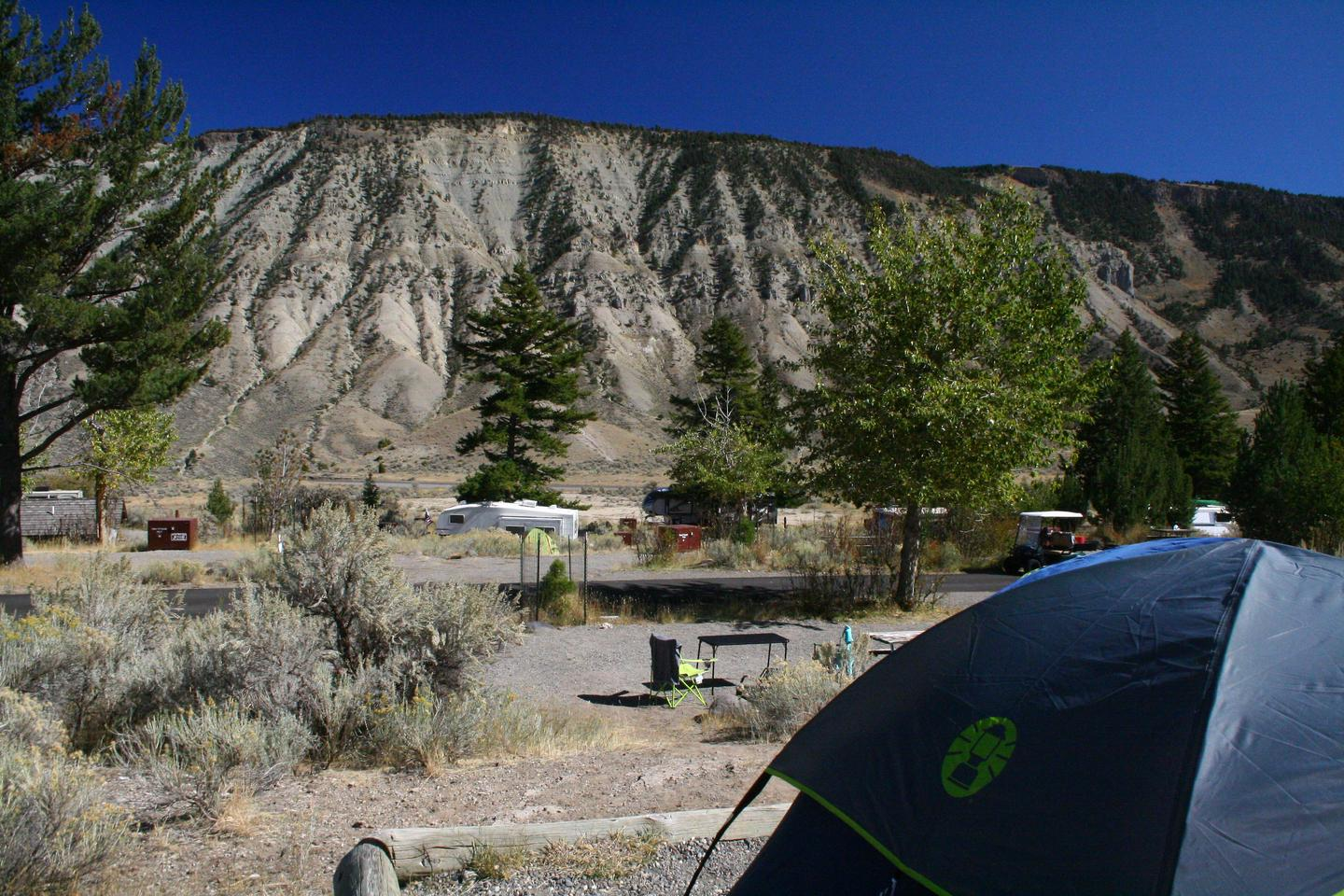 Mammoth Hot Springs Campground Site 84 viewView to the east from Mammoth Campsite #84