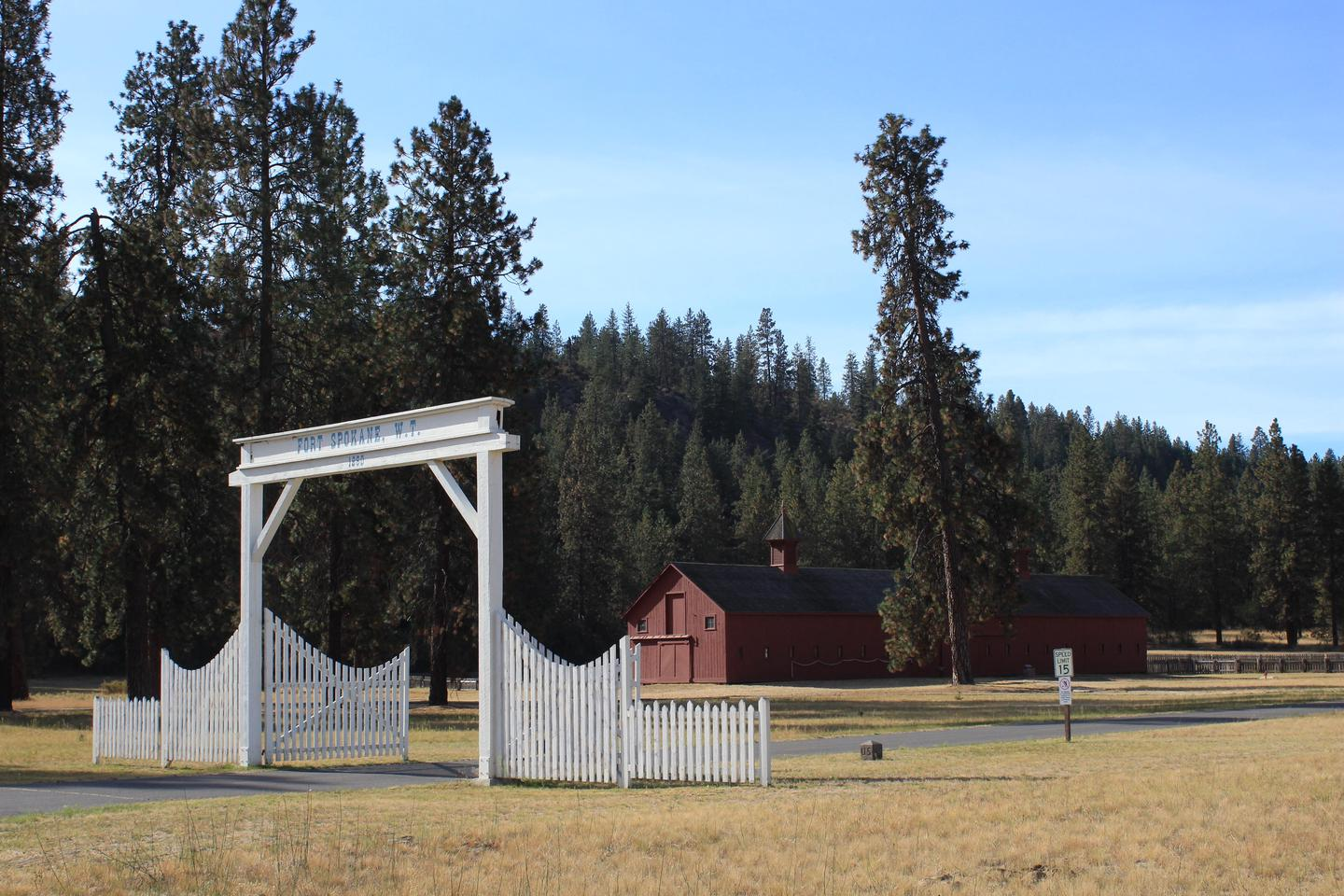 Entrance Gate and Mule BarnFort Spokane entrance and mule barn