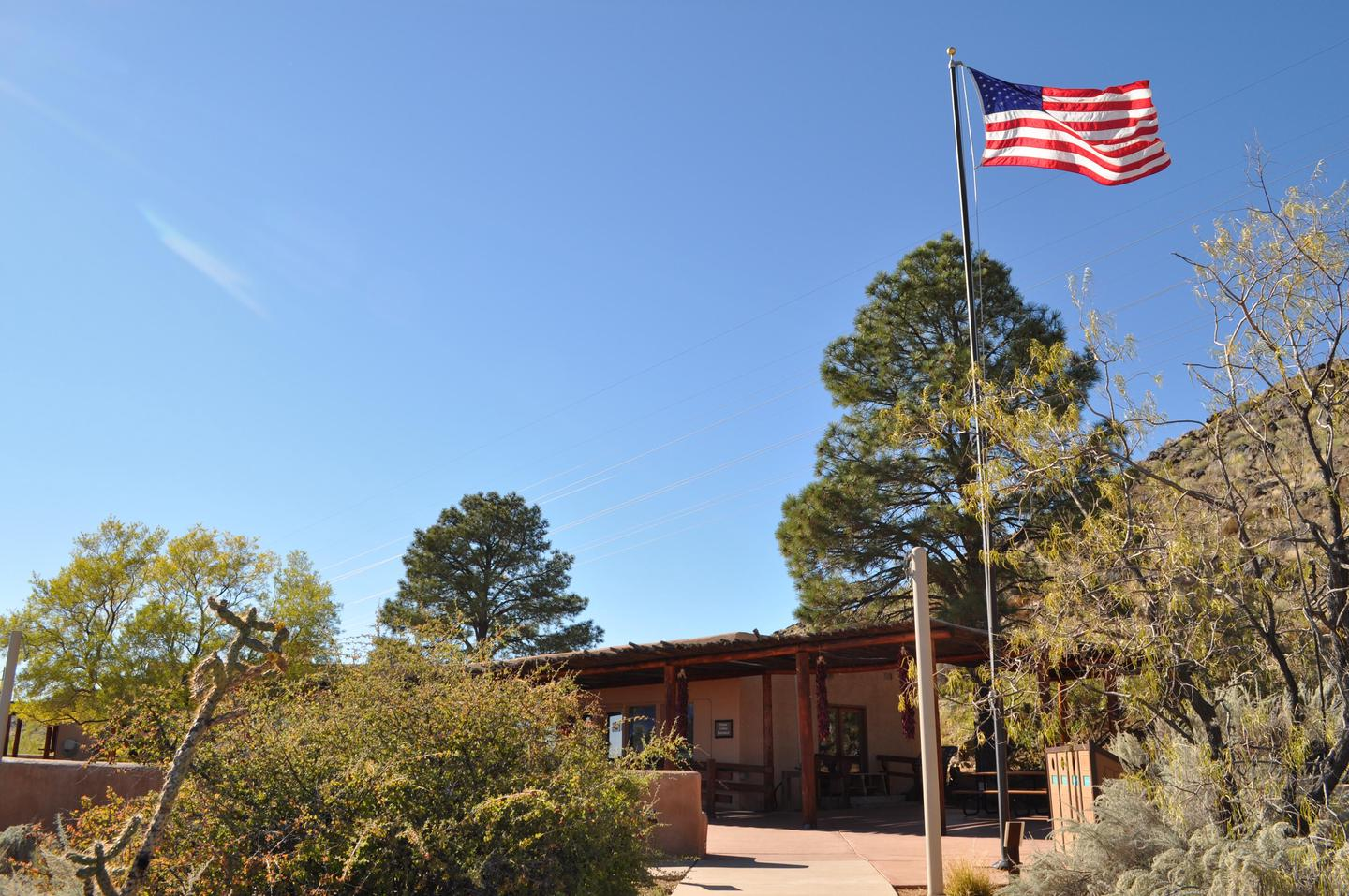 Petroglyph National Monument's Information CenterFront view of information center with flag flying.