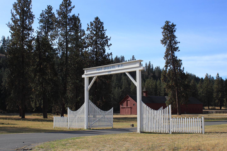 Entrance Gate and Mule BarnFort Spokane entrance and mule barn
