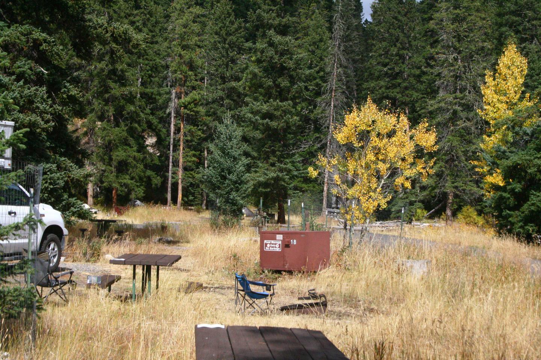 Pebble Creek Campground Site #18..Pebble Creek Campground Site #18