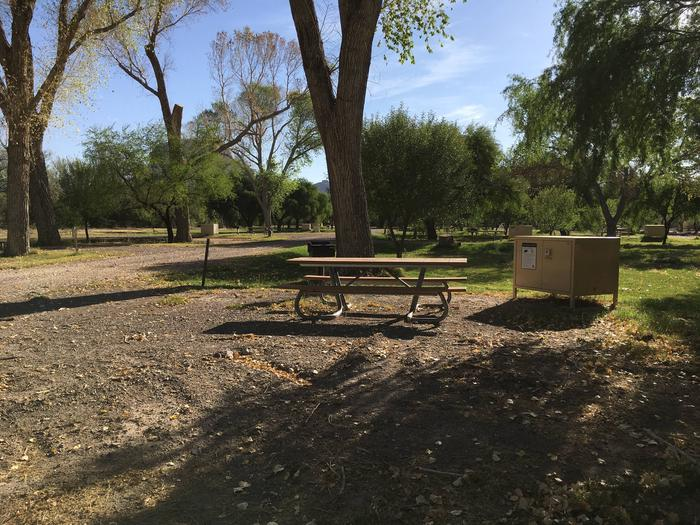 Flat, gravel parking siteFlat, gravel parking site with bear box, raised grill and picnic table