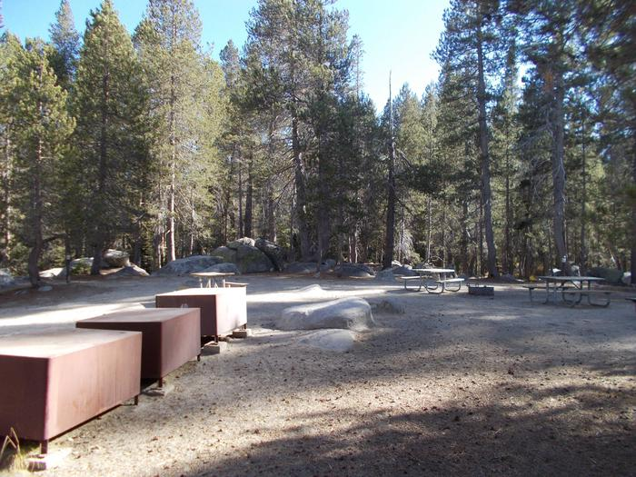 Two fire pits, 4 tables, 7 food lockers (4 full-size, 3 small)Group Campsite A