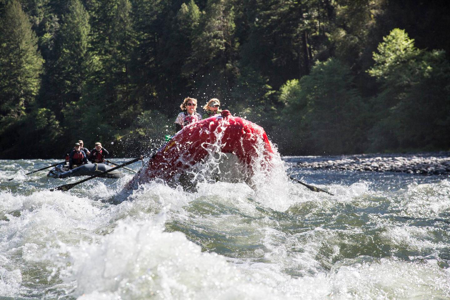 Passengers smile as the nose of their raft leaps upward going through whitewater.Whitewater on the Rogue Wild & Scenic River.