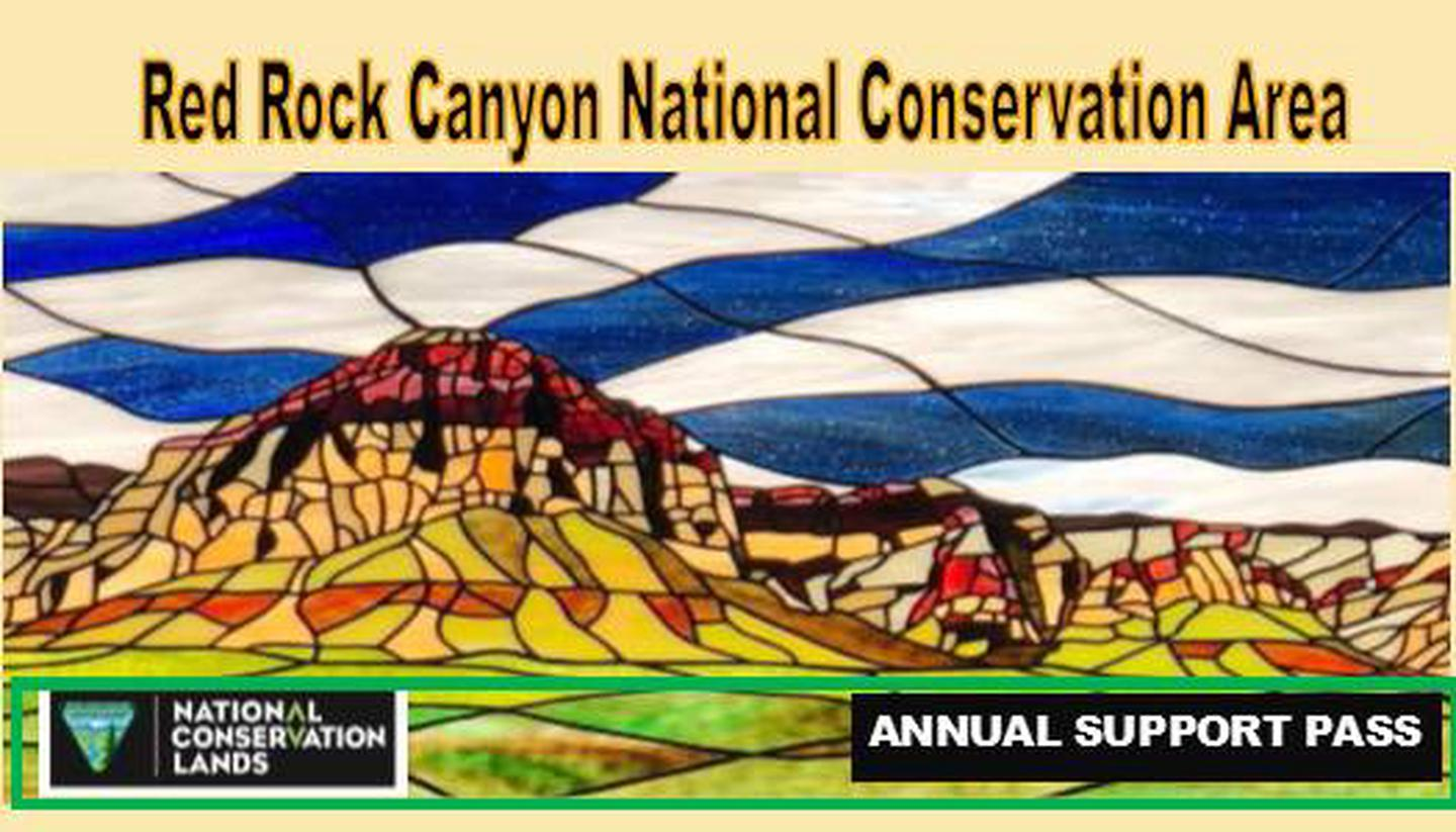 "Red Rock Canyon Annual Pass 2020""Save Red Rock"" stained glass artwork. by Chirstine Wilson  an Artist in Residence for  2019"